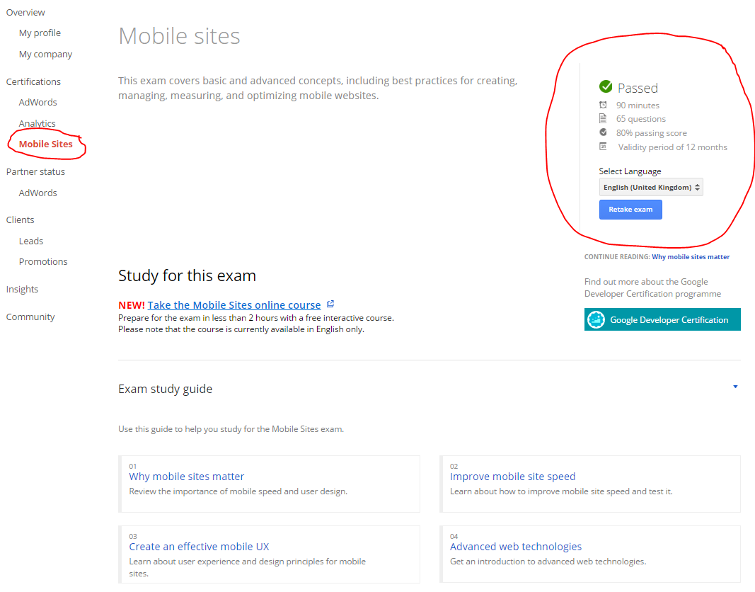 Google Partners Mobile Sites