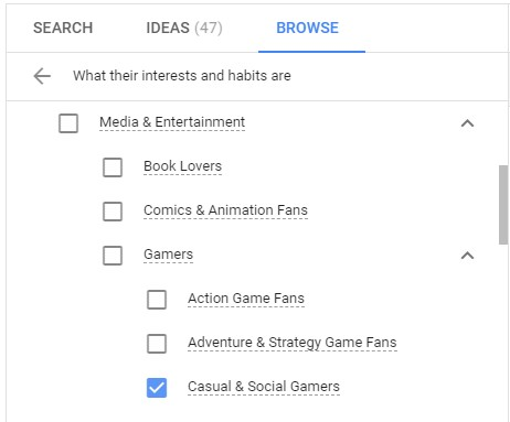 Google Ads - Affinity Audiences
