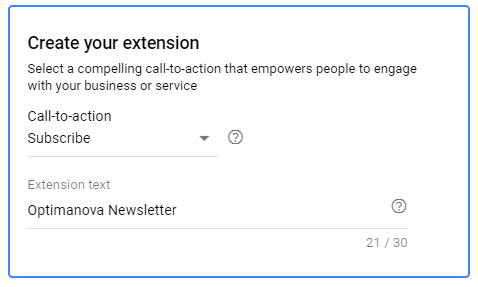 Google Ads - Creating the Call to Action