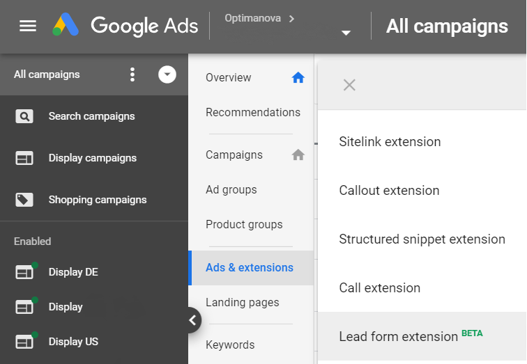 Google Ads - Lead Form Extension