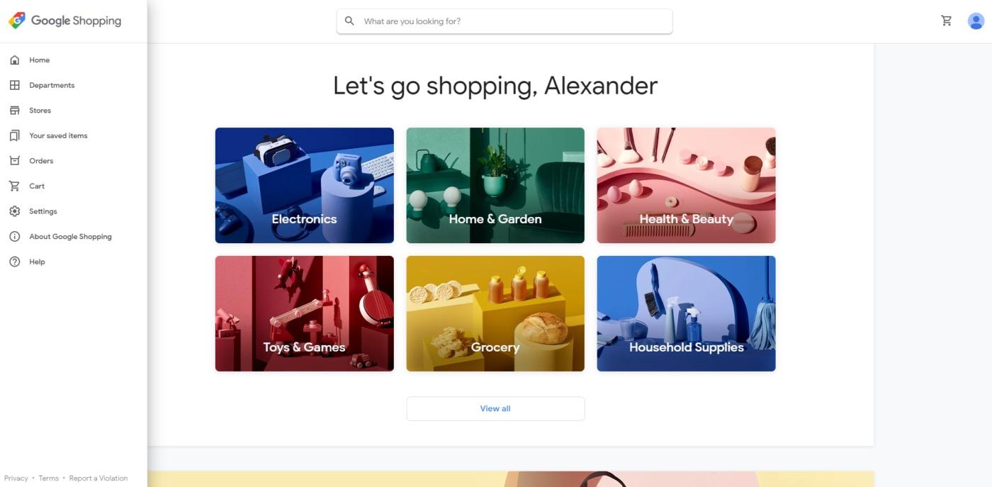 Google Shopping Start Page